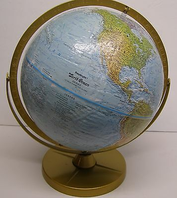 "Vintage Replogle 12 "" Raised Relief Globe World Ocean Series Made in the USA"