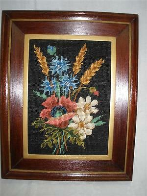 Fabulous Hand Made Wall Hanging Framed Tapestry Pink & Cream Flowers