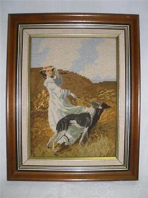 Fabulous Hand Made Wall Hanging Framed Tapestry Lady With Dog