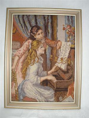 Fabulous Hand Made Wall Hanging Framed Tapestry Girls At The Piano