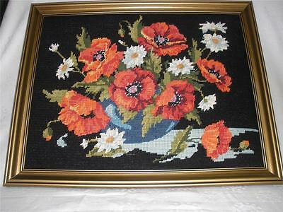 Fabulous Hand Made Wall Hanging Framed Tapestry Red Poppies