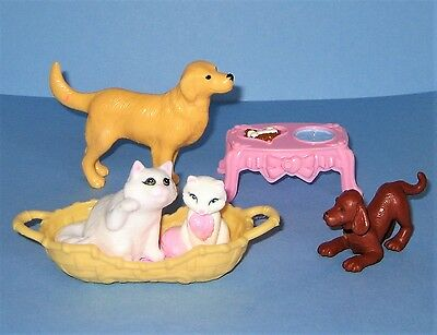 Pet Cat Kitten Dog Puppy Bed Food Water Dish Loving Family Dollhouse Play Lot 15