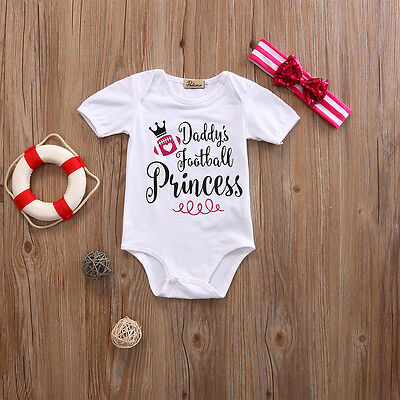 2PCS Newborn Infant Kids Baby Girls Romper Bodysuit+Headband Clothes Outfits US