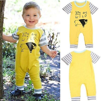 New Toddler Infant Baby Boy Romper Bodysuit Cartoon Jumpsuit Clothes Outfits US