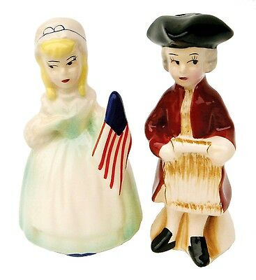 Early Colonial Americans Patriotic Couple Ceramic Salt and Pepper Shaker Set