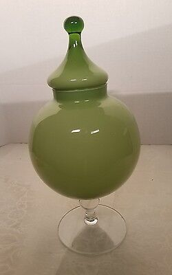 "Large 13"" Vintage MID-CENTURY 50's 60's Green Cased Glass Apothecary Jar Candy"