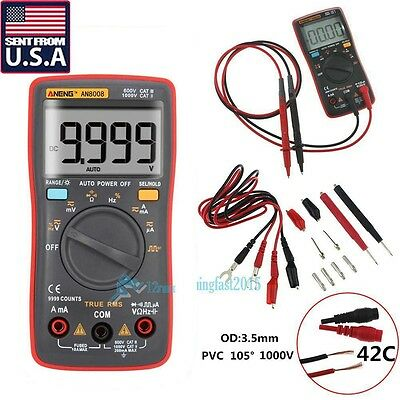 AN8008 True-RMS Digital Multimeter 9999 Counts Square Wave Voltage Ammeter USA