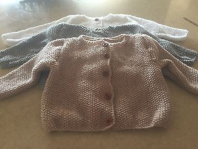 3 HAND KNIT BABY CARDIGAN JACKET JUMPER  BRAND NEW (6 TO 9 Months )