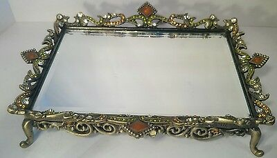 Vintage OLIVIA RIEGEL Style mirrored vanity footed tray Swarovsky Crystals