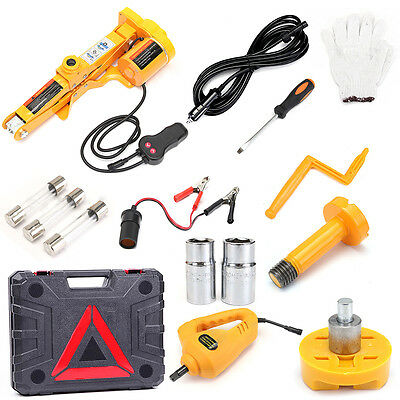 12V Electric Scissor Lifting Jack Car Impact Wrench Tire Change Repair Tool 2Ton