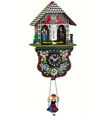 Kuckulino Black Forest Clock Weather House With Quartz Movement And Cuckoo Chime
