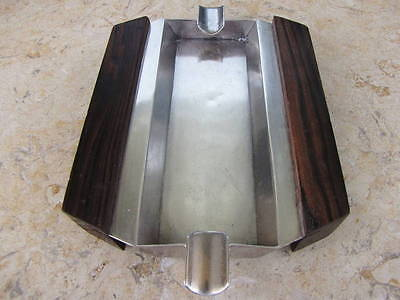 ART DECO CZECHOSLOVAKIA ROSEWOOD SILVER ASH TRAY SIGN. 215gr HANDCRAFTED