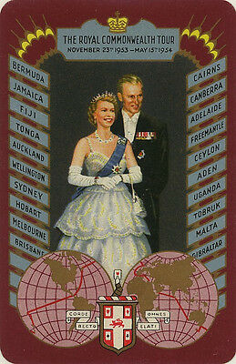 Single Vintage Playing Swap Card: The Royal Commonwealth Tour, 1954.