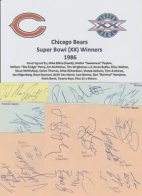 Chicago Bears Super Bowl Winners 1986 Rare Original Hand Signed 31 X Sigs Plus++