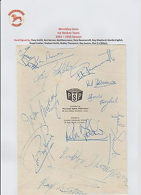 Wembley Lions Ice Hockey Team 1951-1952 Rare Original Hand Signed Page 12 X Sigs