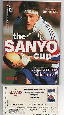 LEICESTER FC v WORLD XV - THE SANYO CUP  - 1996  RUGBY  PROGRAMME & TICKET