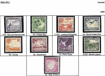 1954 King George VI SG48 to SG56 Complete Set of 9 Stamps Mint Hinged NAURU