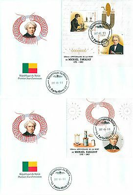 Michael Faraday Science Physics Benin FDC first day cover set