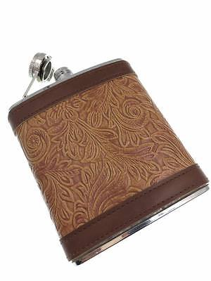 Portable 7oz Stainless Steel Hip Flask Personalized  PU Leather Flagon#002