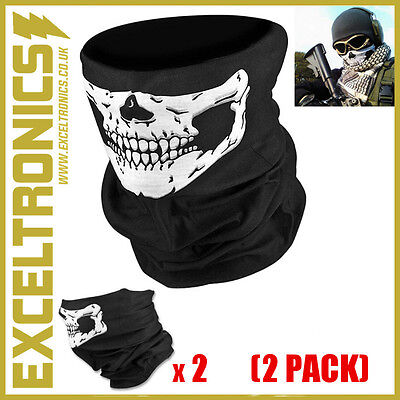 SKELETON GHOST SKULL FACE MASK BIKER BALACLAVA HALLOWEEN FANCY DRESS COSTUME x 2