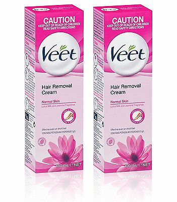 2 x Veet Hair Removal Cream For NORMAL SKIN With Lotus Milk 200ml