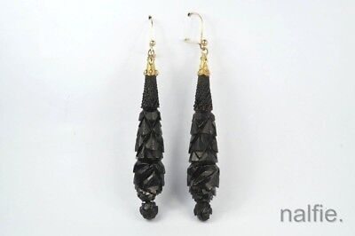 ANTIQUE VICTORIAN ENGLISH 9K GOLD CARVED WHITBY JET LONG DROP EARRINGS c1870
