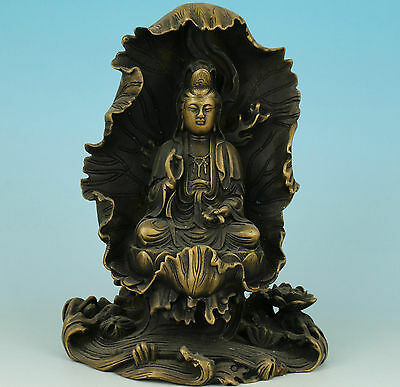 Nice Chinese Old Hand Carved Collection Bronze Buddha Kwan-yin Statue Ornament