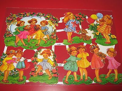 Vintage Style Die Cut  Paper Scraps Colourful/ Children Playing New