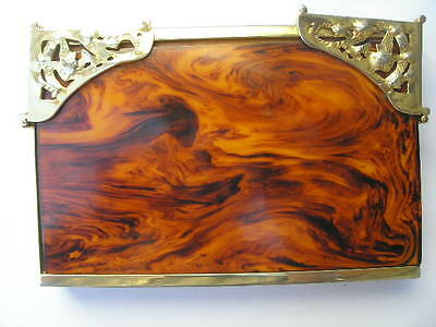 IMPOSING 1930's GENUINE MARBLED YELLOW/BROWN BAKELITE (TESTED) VANITY CASE