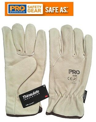 ProChoice 3M Thinsulate Lined Pig Grain Leather Gloves - Free Glove Clip