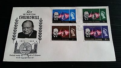Falkland Islands 1966 Sg 223-226 Churchill  First Day Cover