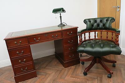 Antique Mahogany Partners Writing Pedestal Writing desk With Captians Desk Chair