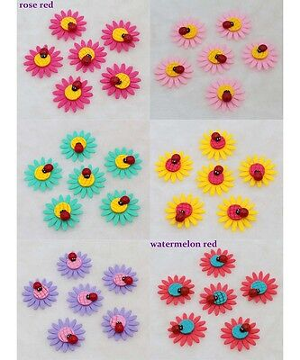 NEW 10-100 PCS  4CM DIY Sunflower Non-woven Applique with Ladybug Design Crafts
