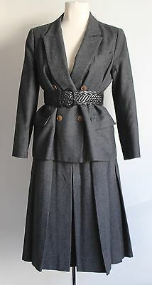 1940's/50's Hermes Paris Pinstripe Double Breasted Pleated Skirt Suit Fit Uk 8