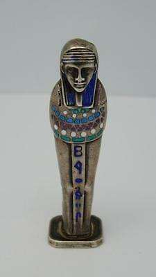 Antique Art Deco Silver Egyptian Revival Miniature Sarcophagus & Mummy Desk Seal