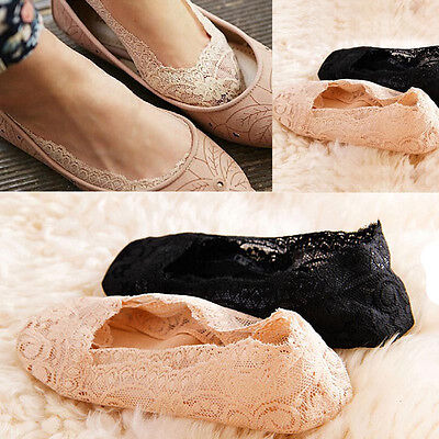 Womens Summer Cotton Lace Antiskid Invisible Liner No Show Peds Low Cut Socks