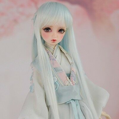 8-9'' 1/3 BJD Doll SD Full Wig Dollfie DZ DOD LUTS Log Straight Green Toy Hair
