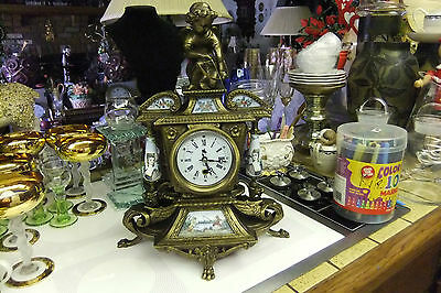 Knight Antique Brass Mantle Clock With Cherub/cupid Ornament On Top