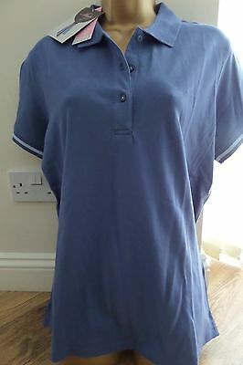 Musto Ladies Quality Blue Polo Shirt Size 16 - Brand New! Bargain!