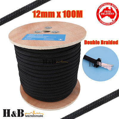 12mm x 100M Double Braided Polyester Rigging Line Yacht Rope Boat Mooring C0131
