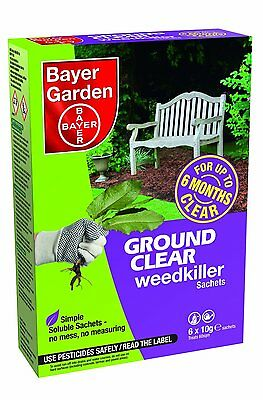 6 x Bayer Ground Clear Weedkiller Soluble Sachets - Kills Roots & Lasts 6 Months