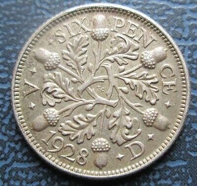 1928 George V Silver Sixpence - 6d -  High Grade Toned XF+