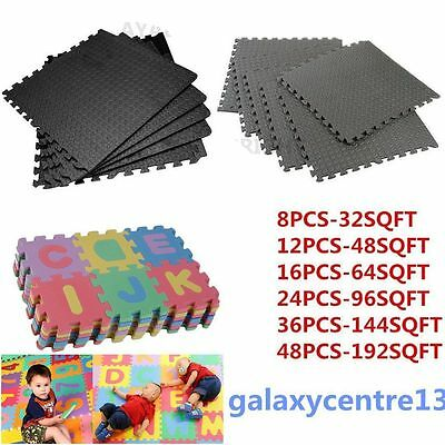 48Pcs Eva Foam Mats Tiles Gym Play Garage Workshop Floor Sqft Interlocking Ay