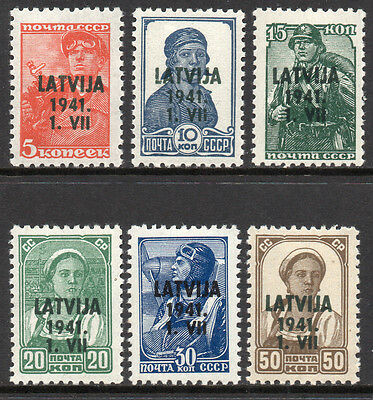 GERMANY 3rd Reich WWII Occupations 1941 LATVIA Soviet Issues O/P Fine MNH Set