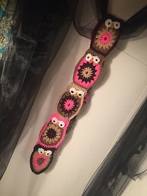 Owl Scarf With Google Eyes Fall Winter Handmade Toddler Girls Small Pink Brown