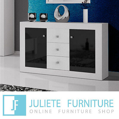 Modern Sideboard Dresser Chest of drawers WHITE / BLACK HIGH GLOSS FREE SHIPPING
