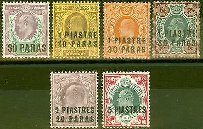 British Levant 1909 set of 6 SG16-21 Mtd Mint