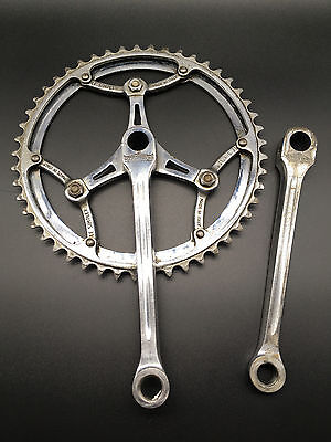 Vintage Magistroni Crankset With Simplex Chainrings 6 Bolt 46 -49 (Guarnitura)