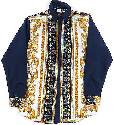 Vtg 80S 90S Baroque All Over Print Gold & Blue L/s Button Down Shirt Swag Euc