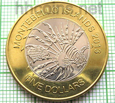 Montebello Islands 2013 5 Dollars, End Of Nuclear Weapon Tests, Bimetallic, Unc
